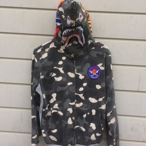 e756bcc681a7 Bape Shark zip up hoodie. Glow in the dark!!!! black white - Depop
