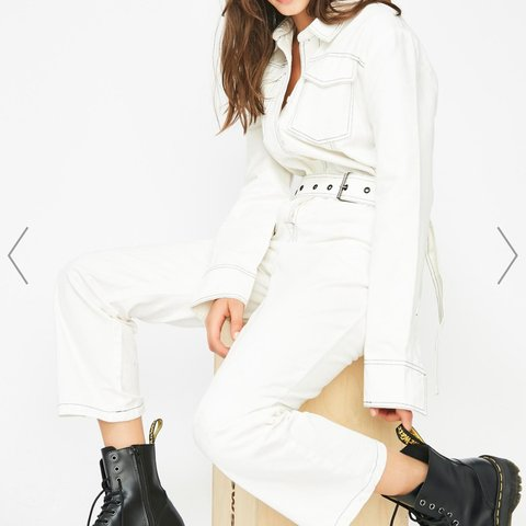 5ca5bb191930 White jumpsuit Long sleeve Black stitching Collared Belt Pockets From  dolls- 0