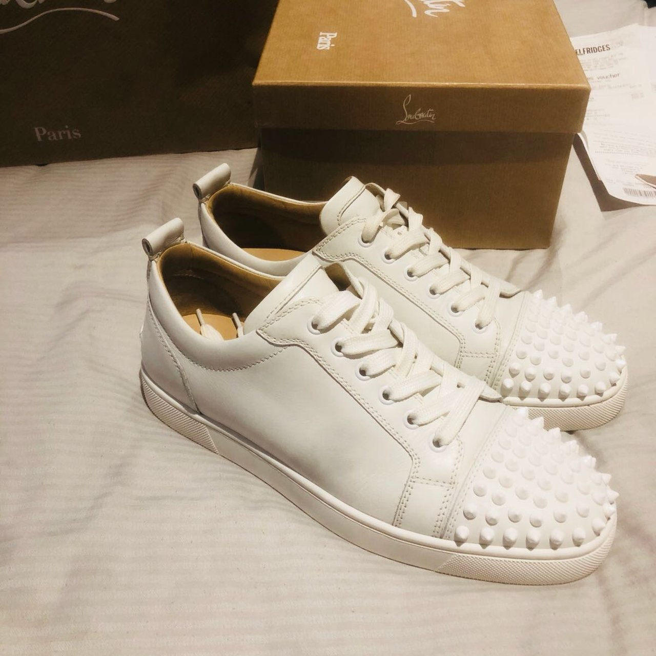 CHRISTIAN LOUBOUTIN MENS WHITE TRAINERS size 6.5. Have been - Depop 290d1c34b9a0