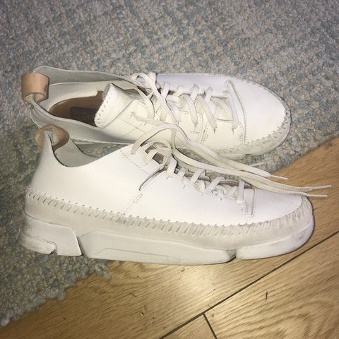 c9b1a16293 Clarks Trigenics trainers. Cream. Leather, suede. Size 7. a - Depop
