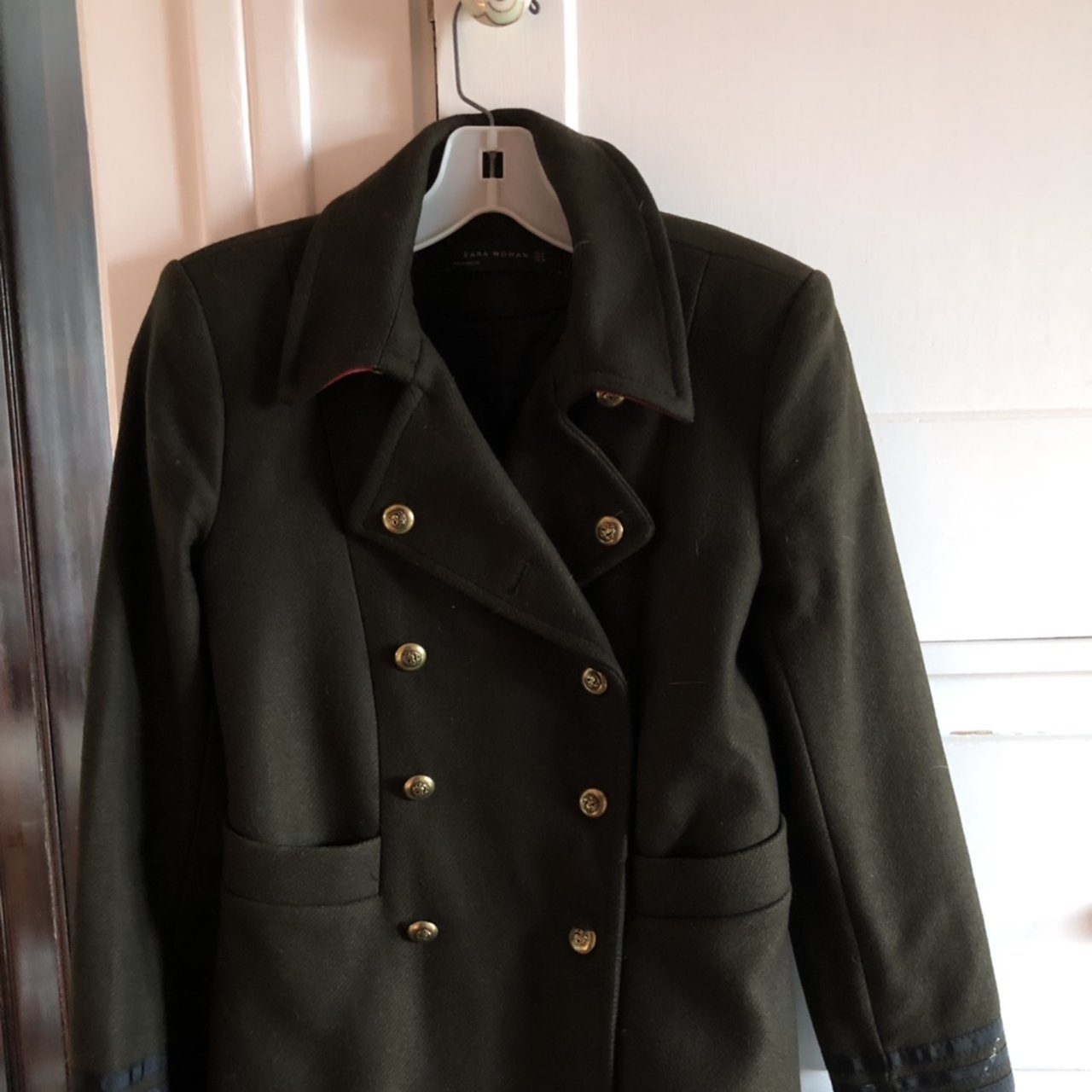 ba0705b8 french zara military coat pea coat. women's S men's xs. - Depop