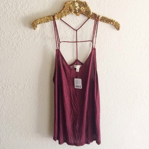 52de9b3d279ad Silence + Noise strappy tank. Maroon and pink dotted. up or - Depop