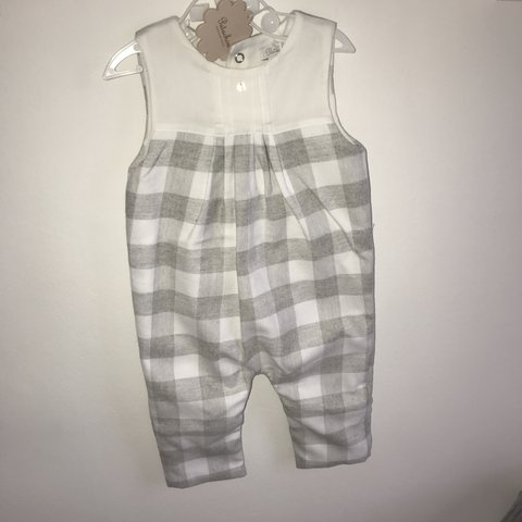 69a94418e0969 Patachou baby romper in white and grey check. Size 9 months. - Depop