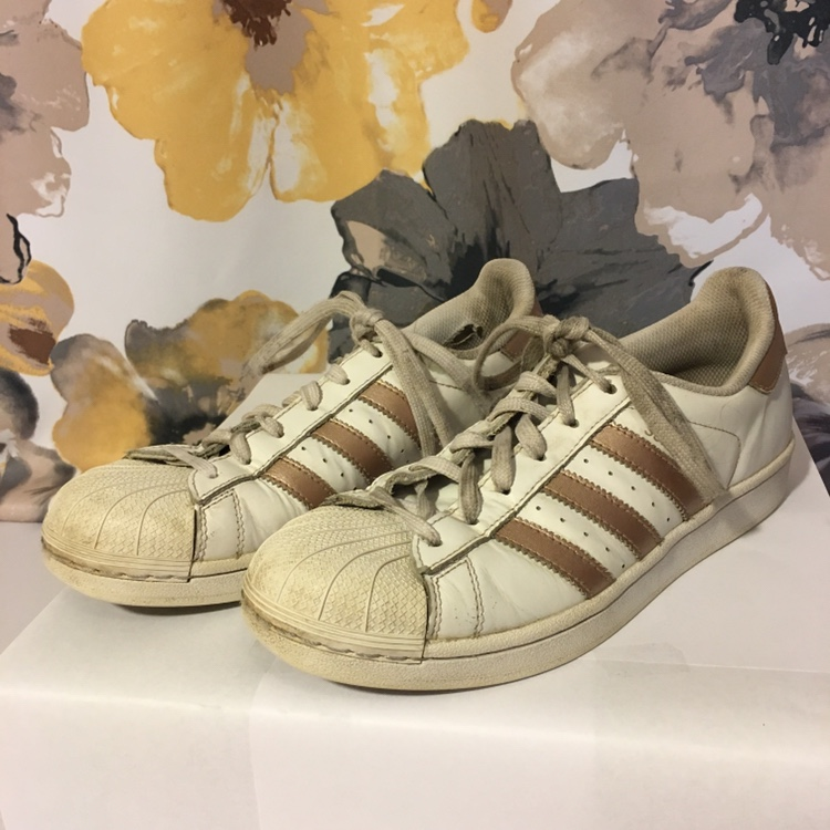 size 40 acc00 34618 Adidas superstar rose gold stripe shoes sneakers. In... - Depop