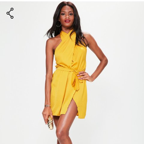 9163caa417d3f Only worn once Missguidef yellow satin dress