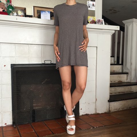 a576a01cece5 @jayleekins. 4 months ago. Los Angeles, United States. Brandy Melville  taupe and black striped luana tshirt dress.