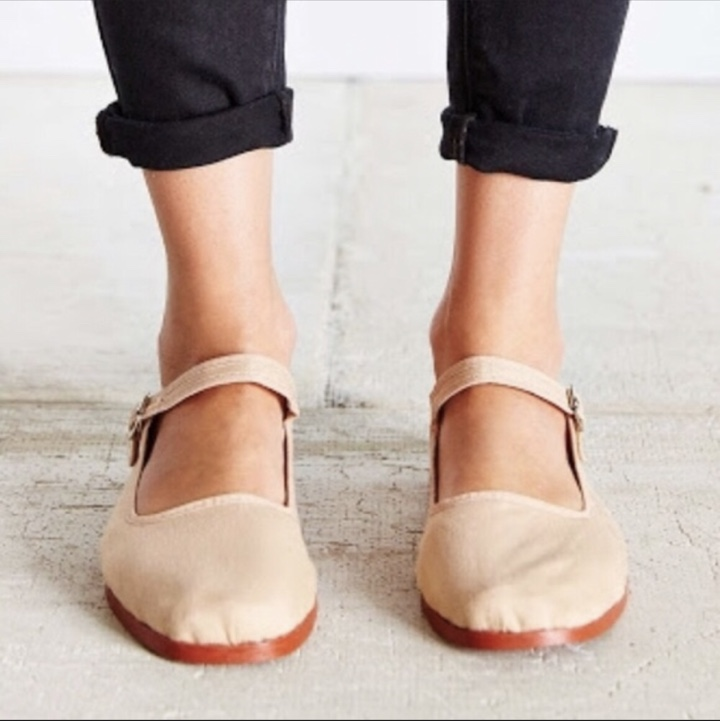 Urban Outfitters Cotton Mary Janes Classic Tan Depop