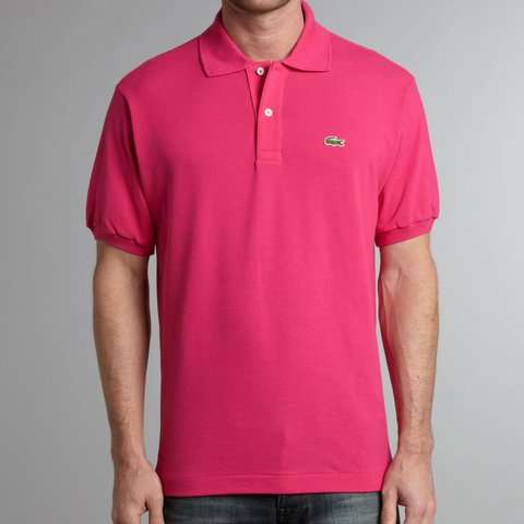 24b2d3960bf3 Hot Pink Lacoste men s polo shirt Euro 6 US L Tags magenta - Depop