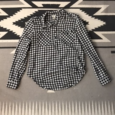 e1abda9011 Forever 21 Black and White Gingham Half Button Up Top In a - Depop