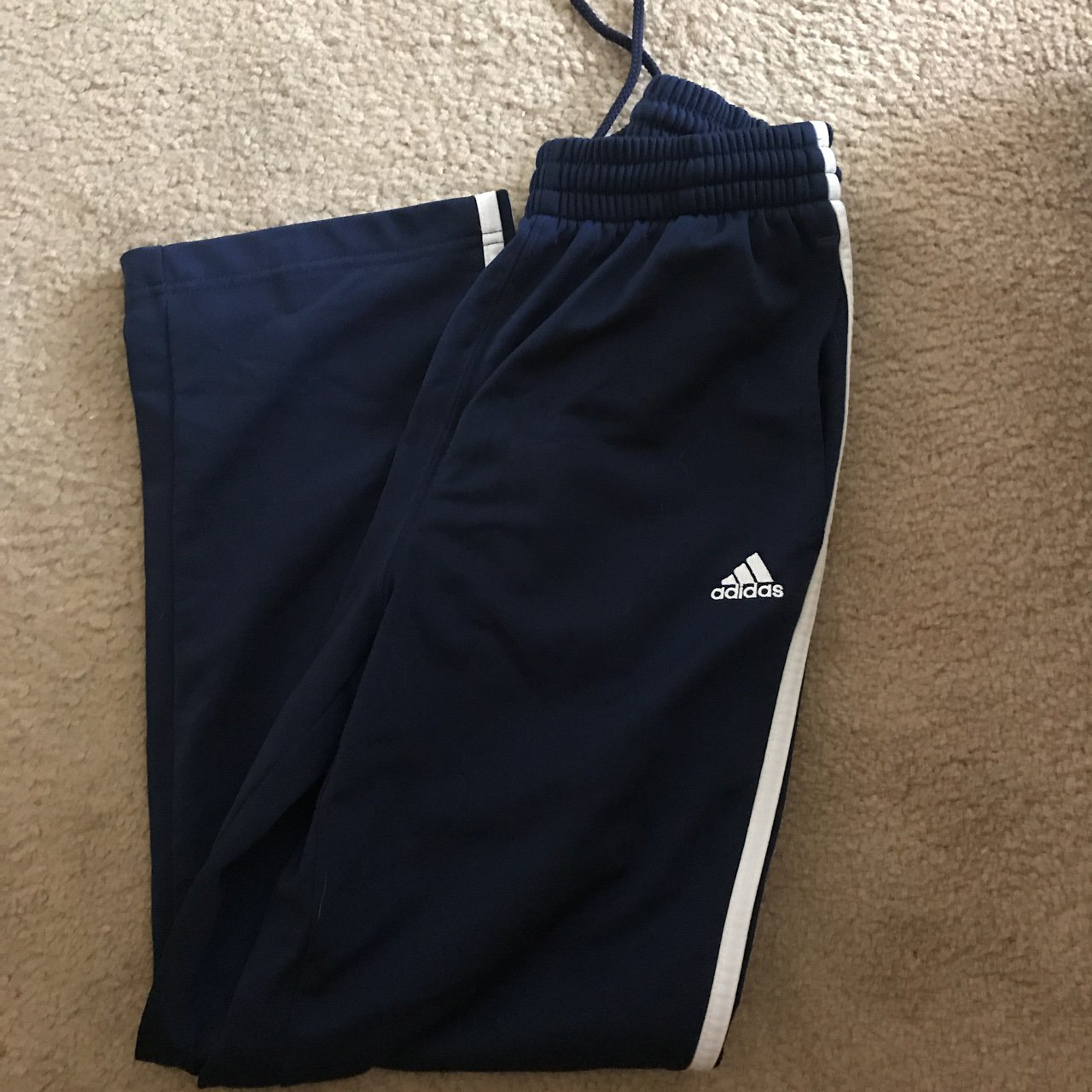 85af39d97bdb Adidas navy blue track pants. These are a boys M. If you are - Depop