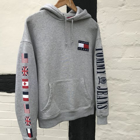 18c007dc @10wardd. last year. Worcester, United Kingdom. Tommy Jeans/Tommy Hilfiger  Capsule Collection Spellout Flag Hoodie