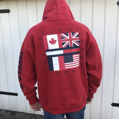 3ddcbb5d2 @10wardd. last year. Worcester, United Kingdom. Tommy Hilfiger Tommy Jeans  red flag hoodie from the capsule collection
