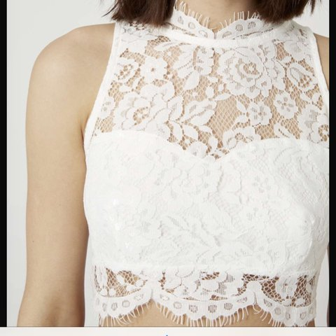 740bbb41a2a9b Topshop white lace crop top. Worn once