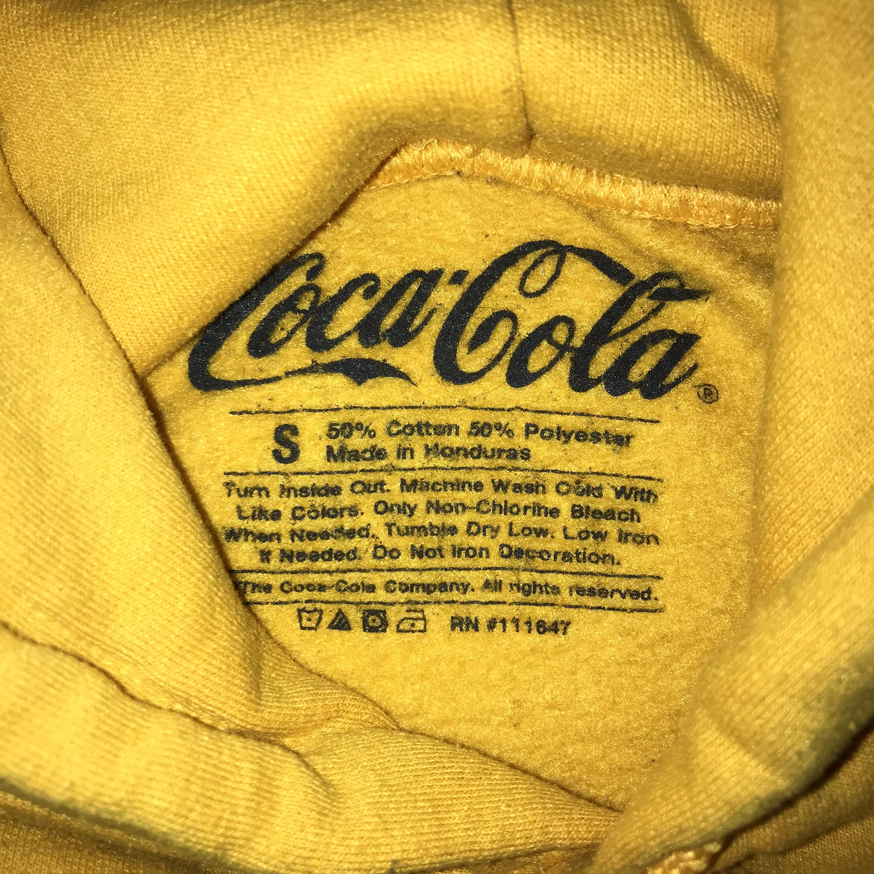 be92f26749f Yellow Coca-Cola Embroidered Hoodie... - Depop