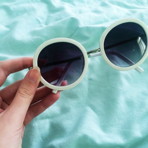 e004b9696ef Retro circle sunglasses in white. Bought on depop but too my - Depop