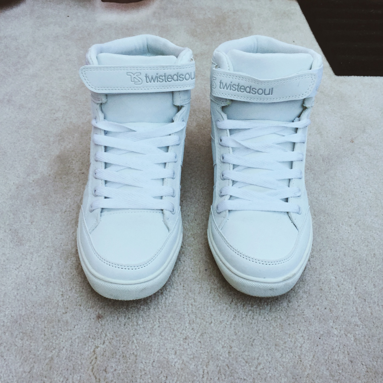 White Twisted soul high top trainers