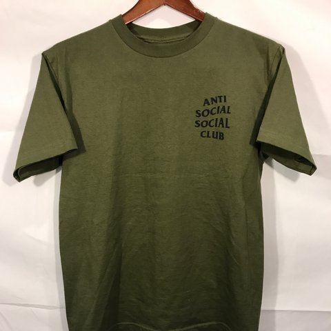 09ebb28f @tcabrera23. 2 years ago. Hesperia, United States. Antisocial Social Club Olive  Green T Shirt. Only worn once, perfect condition.