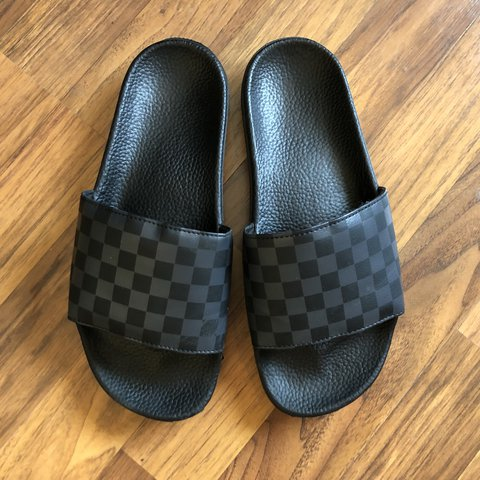 34c57743b62 Vans Black and Gray Checkered Sandals Condition  9.5 10 Fit  - Depop
