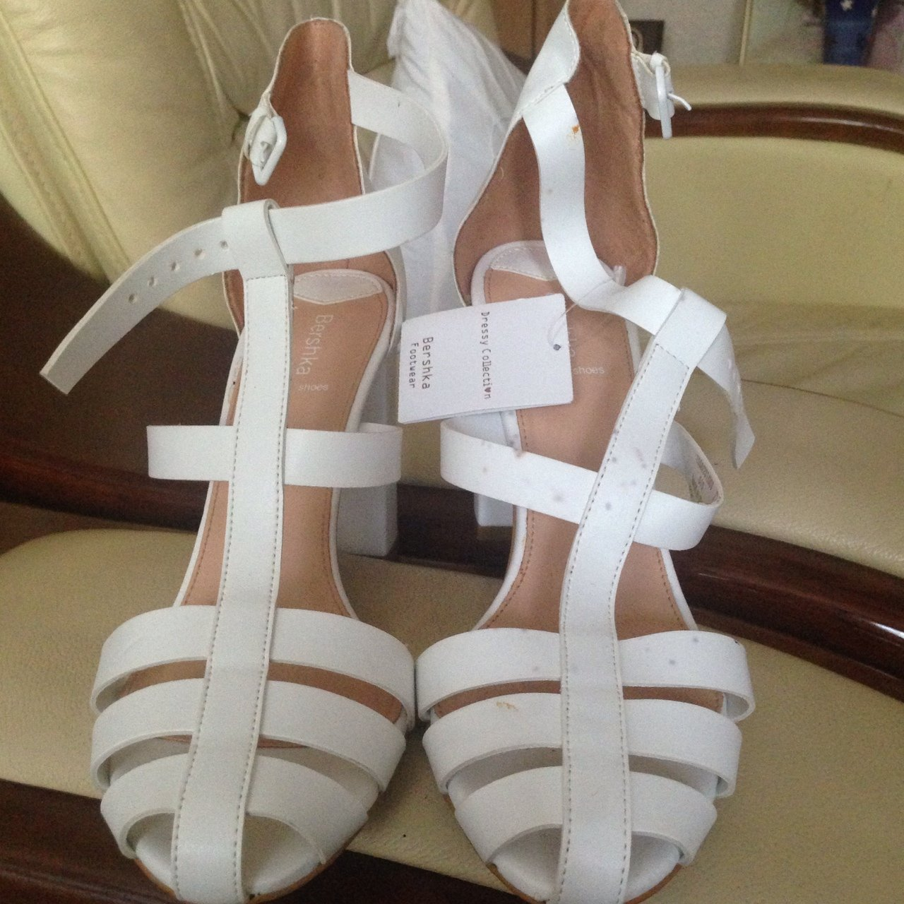 d6fc2e3bc5 Bershka White Caged Sandals 5. The shoes are a bit worn and - Depop