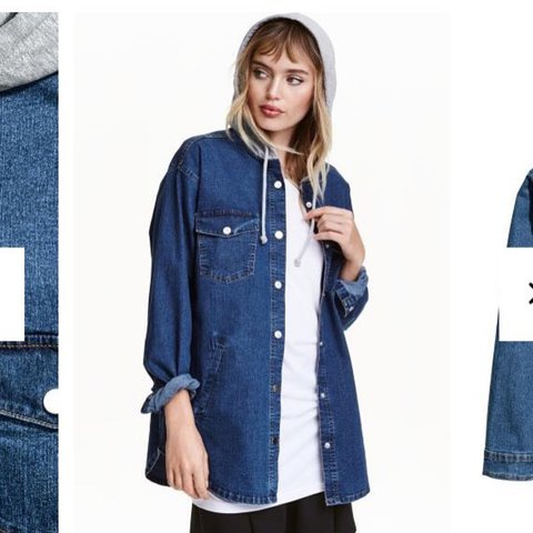 168478349a8e H M denim jacket with grey hoodie. Button up