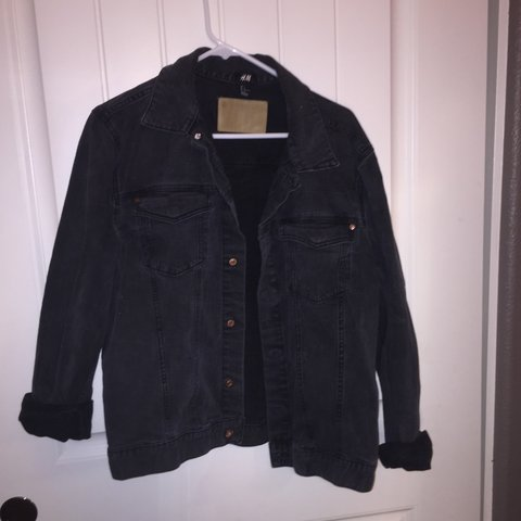 H M Black Denim Jacket Depop