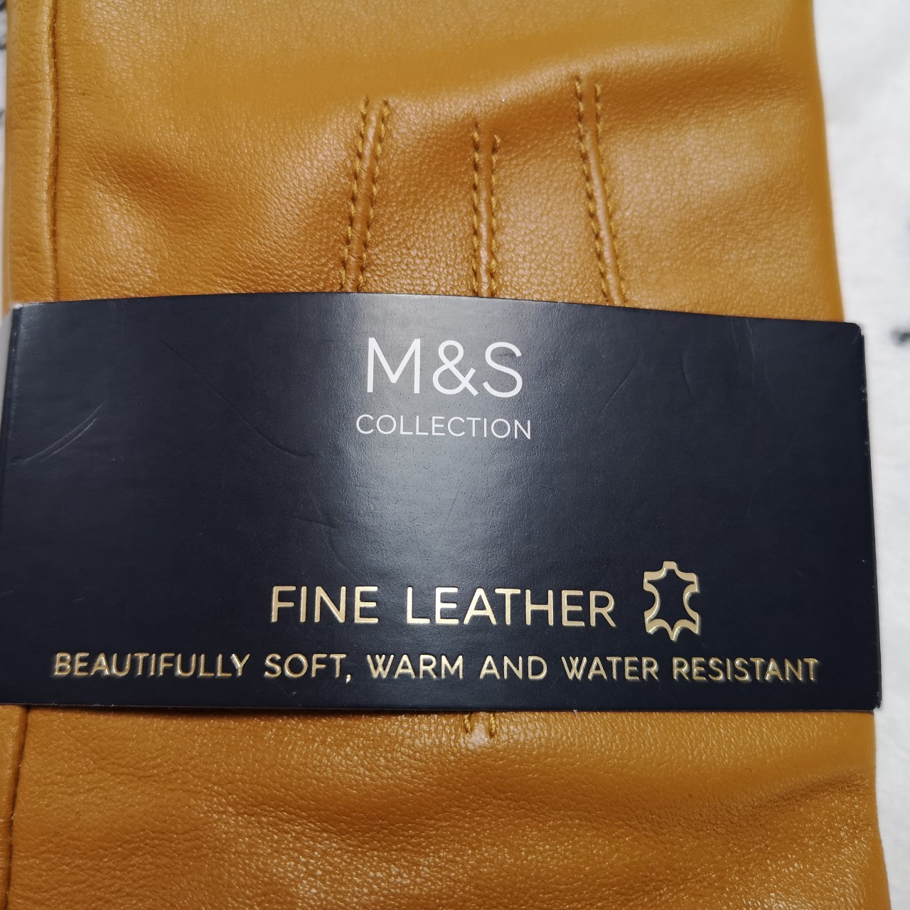 M/&S Collection Tan Leather Gloves Soft Warm And Water Resistant Size M