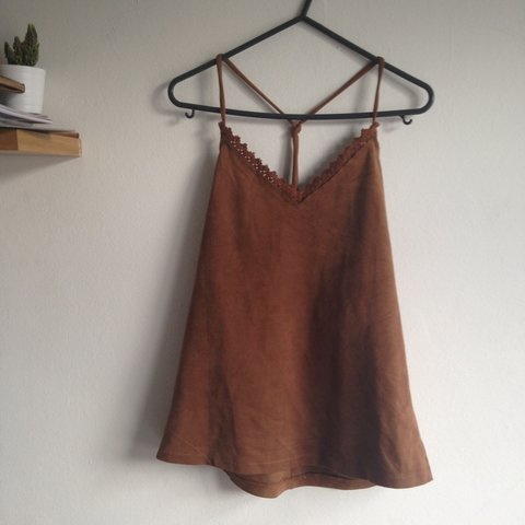 2630956524b4e Gorgeous brown suede Zara cami. Perfect for autumn. not thin - Depop
