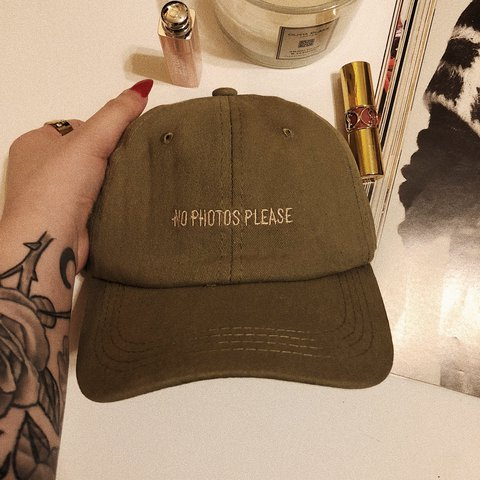 """323381a3c86d4 THE PAPARAZZI HAT - olive green dad cap with """"No Photos the - Depop"""