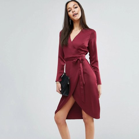 d8310439f2a ASOS midi wrap dress in satin - burgundy - UK Size 4 (but 6) - Depop