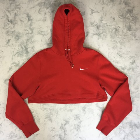 754b3059d Cropped red Nike hoodie Perfect condition - Depop