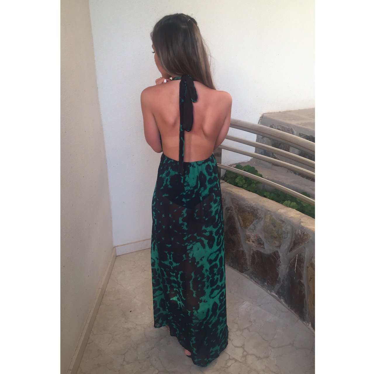 f0306d19f0 Green leopard print maxi dress. Thigh slit and backless. for - Depop