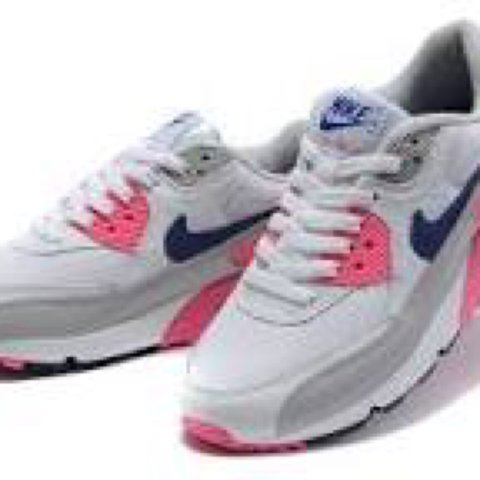 19f526feaad0 AirMax 90 pink blue and white and grey gorgeous shoes worn a - Depop