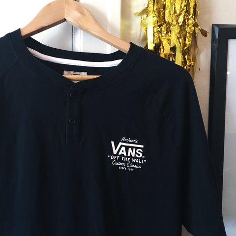 8e5a14c5263b8a Vans black and white baseball looking tshirt with two button - Depop