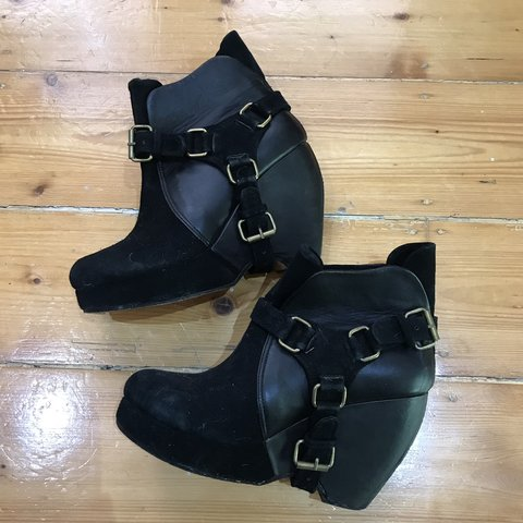 f99310bb3c Maurie and Eve black leather and suede biker boots. So so a - Depop