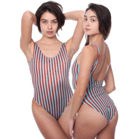 8978b7b105f @emmiehoff. 4 years ago. Long Island City, NY 11109, USA. American Apparel  stripe print Malibu swimsuit one piece ...