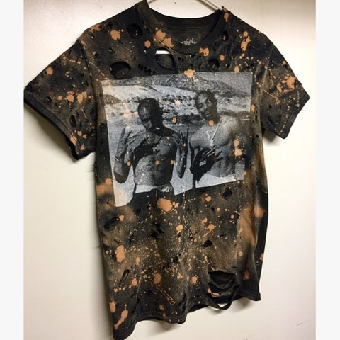 Distressed Bleach Rap Tee Made By My Girlfriend Size Small Depop