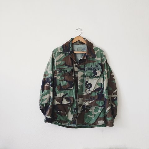 7ef2ba458822ab Camo army jacket. Some little ROTC kid must ve owned this it - Depop