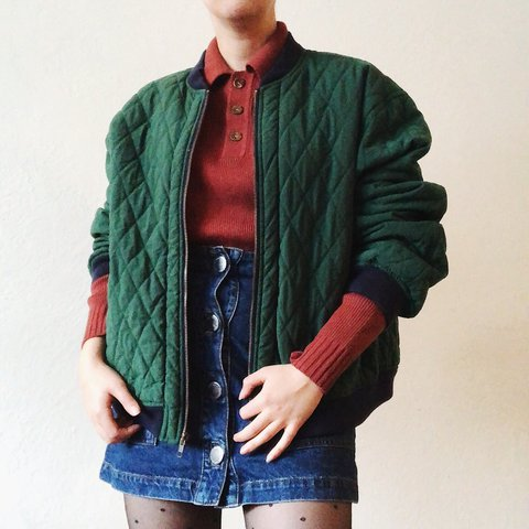 90s Green Quilted Bomber Jacket Fits Mens Medium Womens Depop