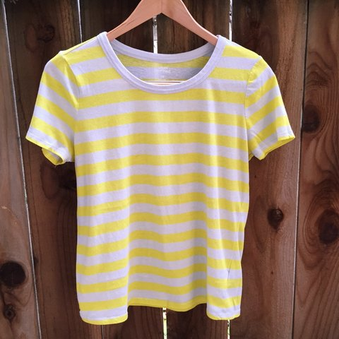 a6e996270e Light grey and yellow striped shirt from urban outfitters in - Depop