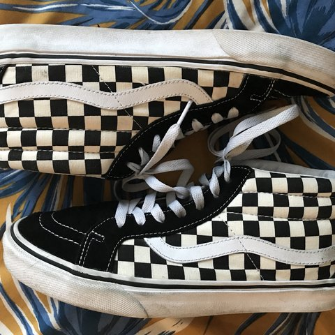 8ad98fbfcc Vans sk8 mid checkerboard black white hi tops Sits lower on - Depop