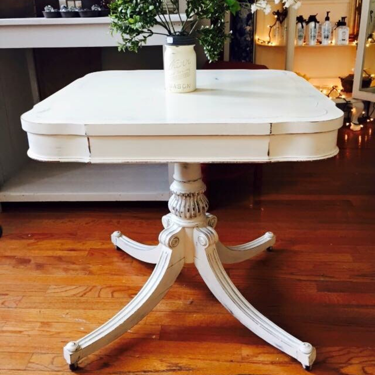 Antique White Side Table On Casters Depop