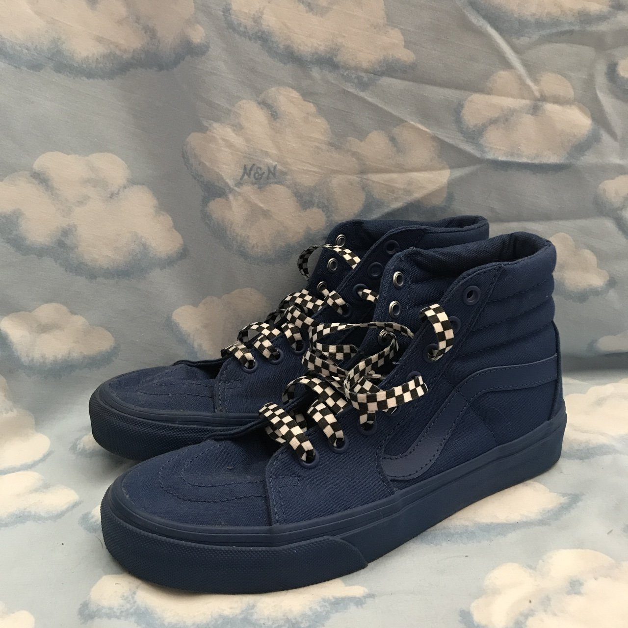 aaaf4225f62799 New dark blue vans with checkered laces size women s - Depop