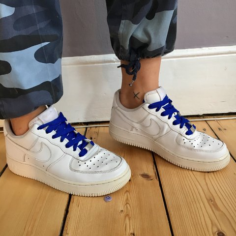 a3e527c6e64 ... hot white nike air force 1 with blue laces depop 04655 2226f
