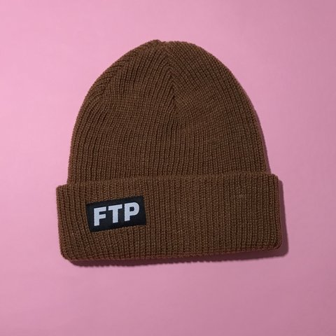 4e8cc47f9d6f6 Fuck the population Logo Beanie Brown color way Has FTP on - Depop
