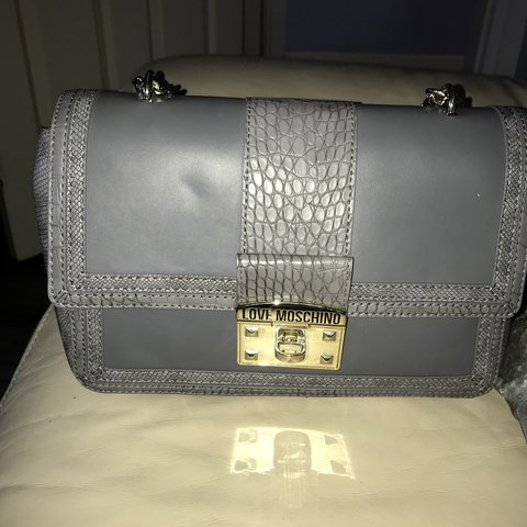 93c3c889c20 @melwhite10. 6 months ago. Glasgow, United Kingdom. Grey GENUINE moschino  bag - bought from House of Fraser ...