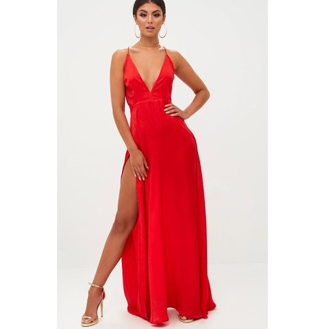 2ae78e9bde33 @laurendorrance. last year. Lockerbie, United Kingdom. PLT Red satin floor  length dress with slit up one side size 10 ...