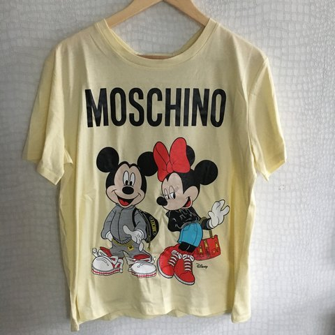 40bf0b240d861 Moschino x H&M Mickey and Minnie Mouse tshirt pastel yellow - Depop