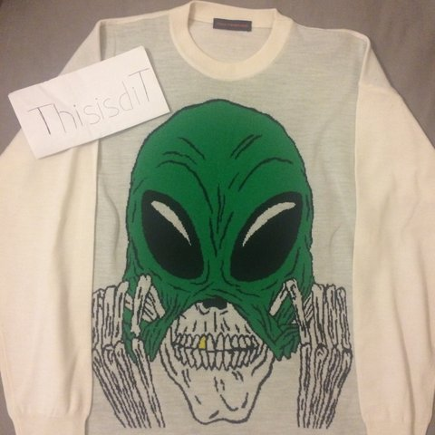 e3291ae10 Gosha Rubchinskiy Alien Intarsia Sweater size M can fit up - Depop