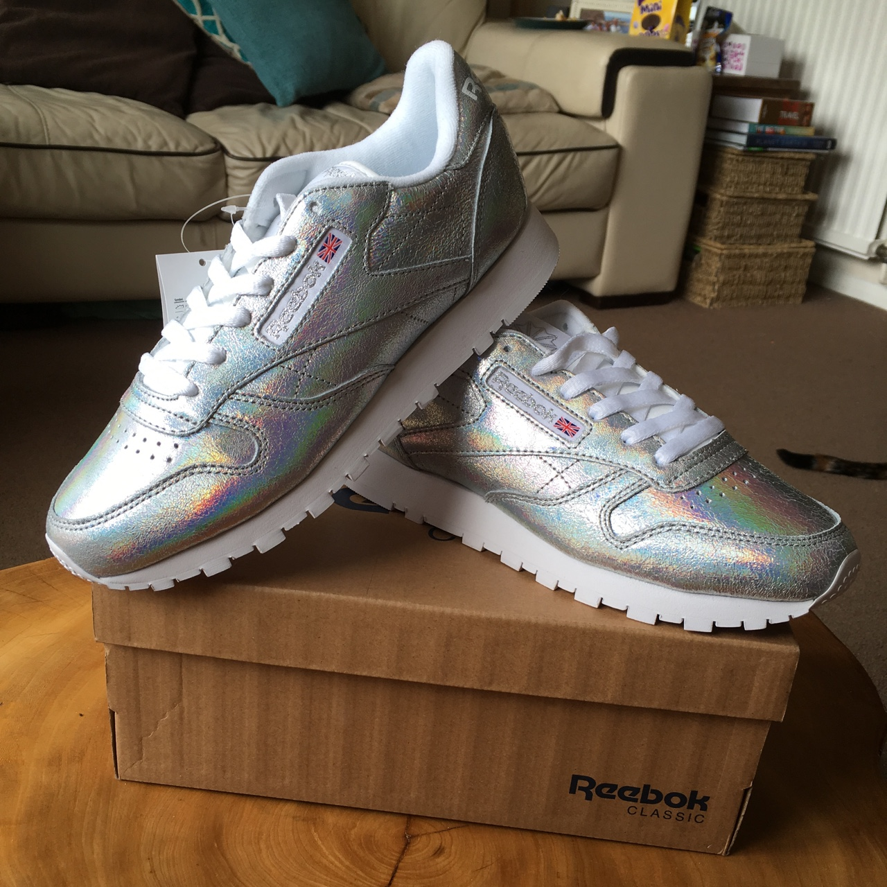 great deals look good shoes sale discount sale Reebok Classic Leather Iridescent Silver Glitter •... - Depop