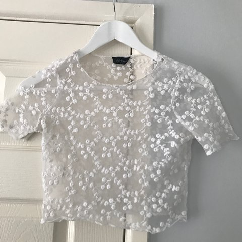 603d6205dd4 @ellie_chatterton. 2 years ago. Heighington, Lincoln LN4, UK. Topshop white mesh  crop top with embroidered flowers!